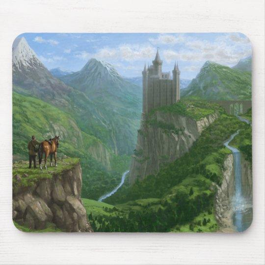 Traveller In Landscape With Distant Castle Mouse Mat