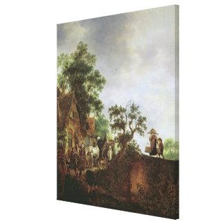 Travellers by an Inn (oil on canvas) Canvas Print