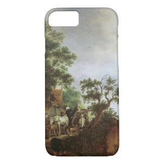 Travellers by an Inn (oil on canvas) iPhone 8/7 Case