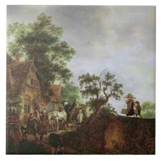 Travellers by an Inn (oil on canvas) Large Square Tile
