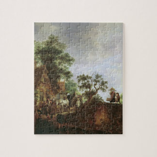 Travellers by an Inn (oil on canvas) Puzzles