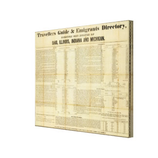 Travellers guide and emigrants directory canvas print