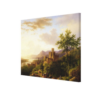 Travellers on a Path in an extensive Rhineland Lan Canvas Print