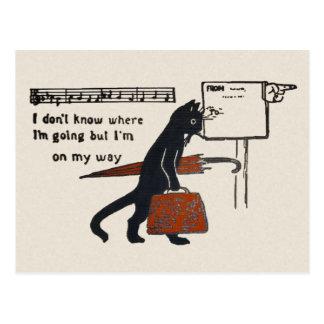 Travelling Black Cat Vintage Style Postcard