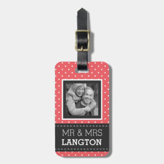 Travelling Couple Mr and Mrs Polka Dot Photo Bag Tags