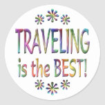 Travelling is the Best Round Stickers