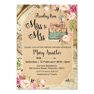 Travelling Miss to Mrs Bridal Shower Invitation