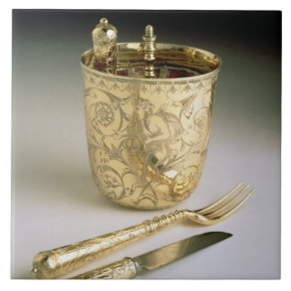 Travelling set of a knife, fork, spoon and beaker, large square tile