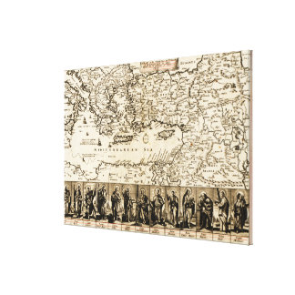 Travels of the Apostle PaulPanoramic Map Stretched Canvas Prints
