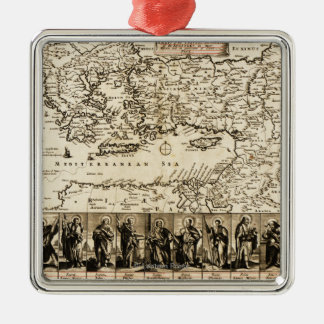 Travels of the Apostle PaulPanoramic Map Christmas Ornament