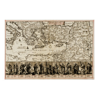 Travels of the Apostle PaulPanoramic Map Poster