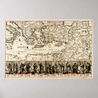 Travels of the Apostle PaulPanoramic Map Print