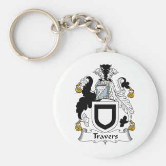 Travers Family Crest Basic Round Button Key Ring