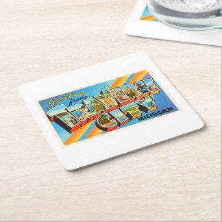 Traverse City Michigan MI Vintage Travel Souvenir Square Paper Coaster