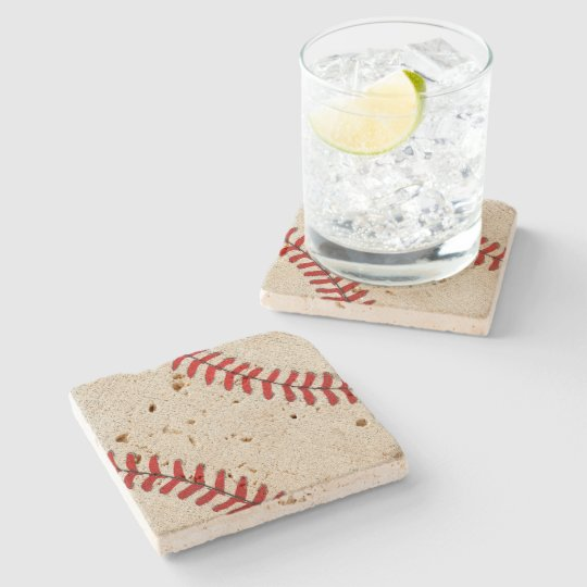 Travertine Baseball Coasters with Old Vintage Look