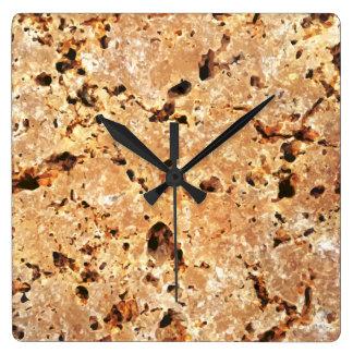 Travertine Stone Look Square Wall Clock