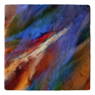 Travertine Trivet with a Lovely abstract Painting