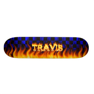 Travis skateboard fire and flames design.