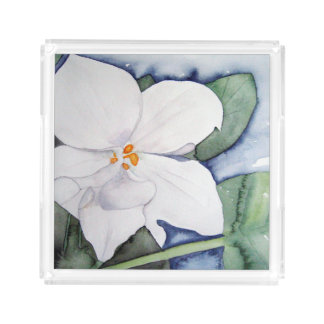 Tray of bath with watercolor of African violet