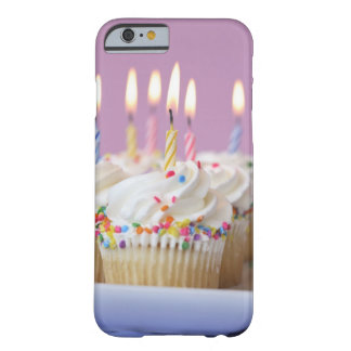 Tray of birthday cupcakes with candles barely there iPhone 6 case