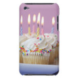 Tray of birthday cupcakes with candles barely there iPod cover