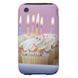 Tray of birthday cupcakes with candles iPhone 3 tough cover