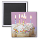 Tray of birthday cupcakes with candles fridge magnets