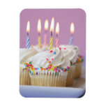 Tray of birthday cupcakes with candles vinyl magnet