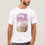 Tray of birthday cupcakes with candles T-Shirt