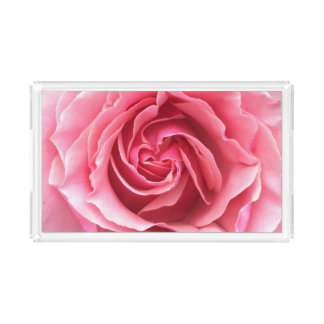 Tray with a photograph of a beautiful pink rose