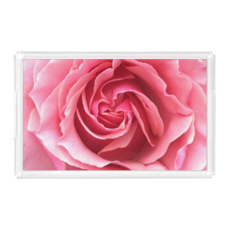 Tray with close up photo of pink rose