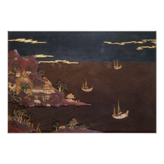 Tray with marine scene poster