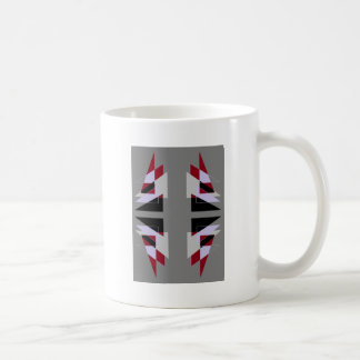 TRE 4 Triangles Abstract Grey Blue Red White Basic White Mug