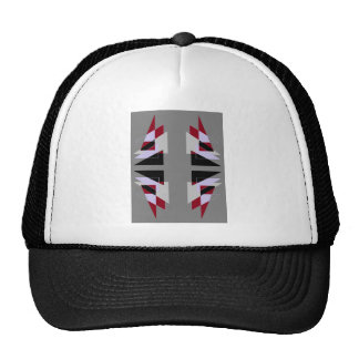 TRE 4 Triangles Abstract Grey Blue Red White Cap