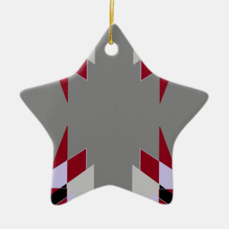 TRE 4 Triangles Abstract Grey Blue Red White Ceramic Star Decoration