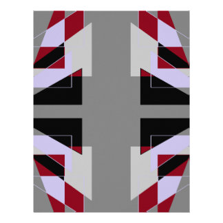 TRE 4 Triangles Abstract Grey Blue Red White Customized Letterhead