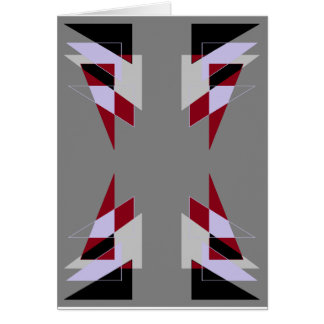 TRE 4 Triangles Abstract Grey Blue Red White Greeting Card