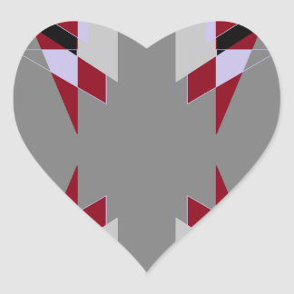 TRE 4 Triangles Abstract Grey Blue Red White Heart Sticker