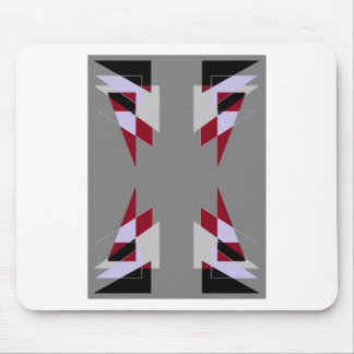 TRE 4 Triangles Abstract Grey Blue Red White Mouse Pad