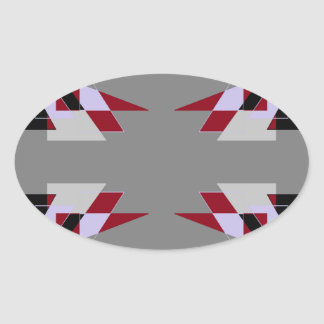 TRE 4 Triangles Abstract Grey Blue Red White Oval Sticker