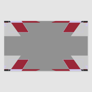 TRE 4 Triangles Abstract Grey Blue Red White Rectangular Sticker