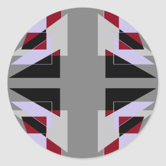 TRE 4 Triangles Abstract Grey Blue Red White Round Sticker