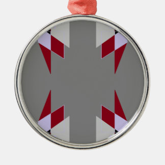 TRE 4 Triangles Abstract Grey Blue Red White Silver-Colored Round Decoration