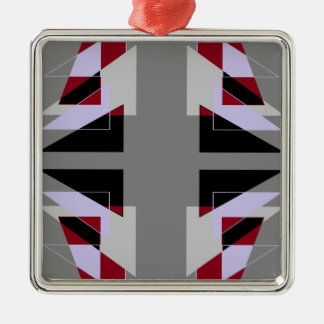 TRE 4 Triangles Abstract Grey Blue Red White Silver-Colored Square Decoration