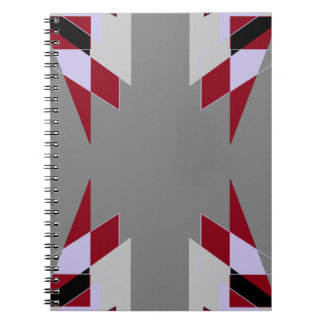 TRE 4 Triangles Abstract Grey Blue Red White Spiral Note Book