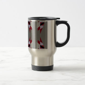 TRE 4 Triangles Abstract Grey Blue Red White Stainless Steel Travel Mug