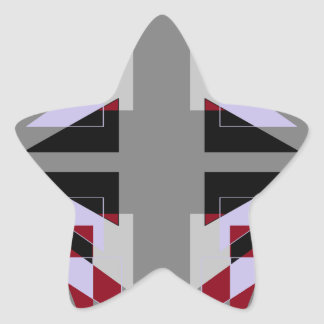 TRE 4 Triangles Abstract Grey Blue Red White Star Sticker