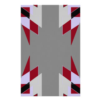 TRE 4 Triangles Abstract Grey Blue Red White Stationery Design
