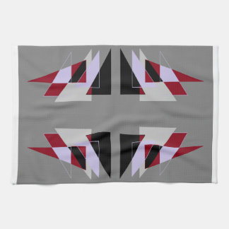 TRE 4 Triangles Abstract Grey Blue Red White Towels