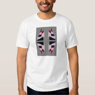 TRE 4 Triangles Abstract Grey Blue Red White Tshirt